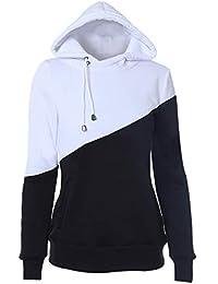 5d7187be61c38 Femmes Sweat à Capuche Colorblock Pullover Hoodie Veste de Sport Slim Fit  Manche Longue Pull Automne