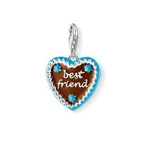 Thomas Sabo Best Friend Lebkuchenherz Charm Anhänger Silber braun/hellblau emailliert 1099-007-2