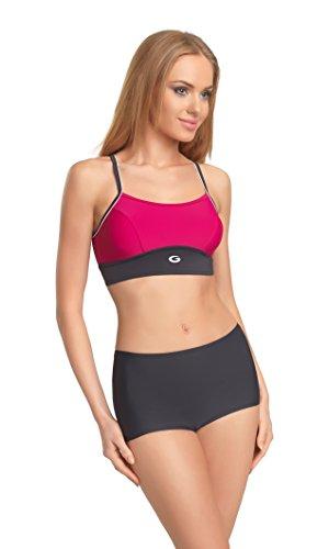 Gwinner Damen Badeanzug Athletic Zwei Piece Workout Bikini-Set mit Sport BH und Panty, Damen, Graphite/Fuchsia, Medium