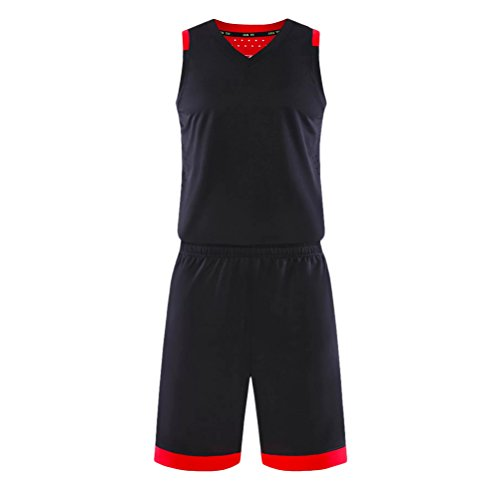 Zhuhaitf Alta qualità Mens Summer Breathable Sports Training Basketball Clothes Kit Set Black