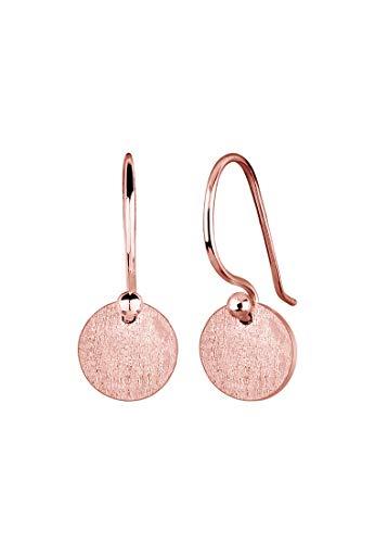Elli Damen Echtschmuck Ohrringe Kreis Geo Trend Basic Matt in 925 Sterling Silber Rosé vergoldet