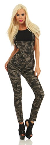 4979 Fashion4Young Damen Latzhose Röhre Hose m. Trägern Latz Jeans Overall Camouflage Latzjeans Army (camouflage, S-36)