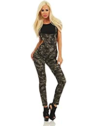 4979 Fashion4Young Damen Latzhose Röhre Hose m. Trägern Latz Jeans Overall Camouflage Latzjeans Army