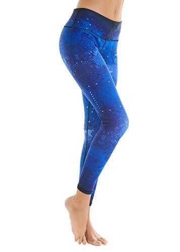 COOLOMG Damen Sport Leggings Yoga Hosen lang Laufen Radfahren gemustert Fitnesshose Schnell XL