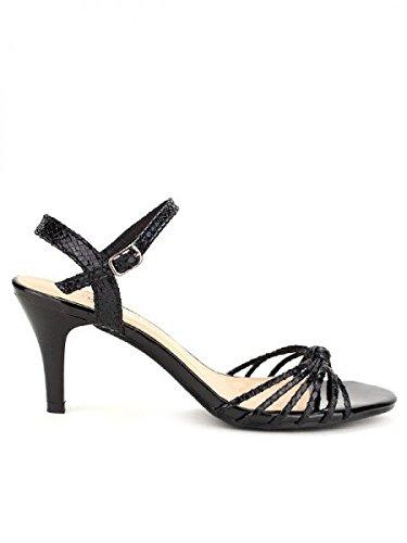 Cendriyon, Sandale Noire BELLELI MODA Chaussures Femme Noir