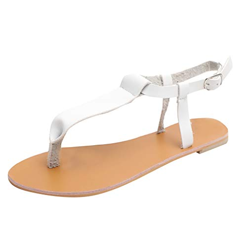 KonJin Women Sandals Flat Summer Slippers Open Toes Breathable Beach Sandals Rome Buckle Strap Flat Shoes Red Patent Leather Platform Slingback Schuhe