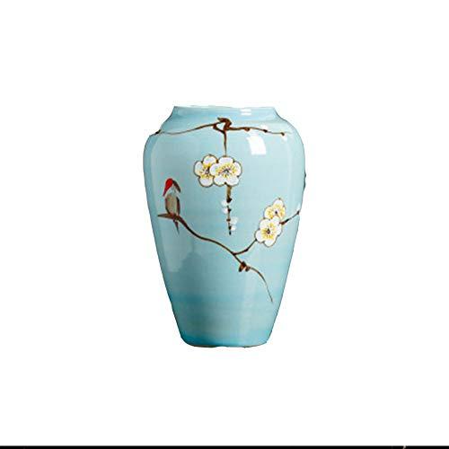 SUNA Jingdezhen Keramische Porzellan-Vase, Roter Vogel und Blumen-Malerei, Für Hauptdekoration, Blau -