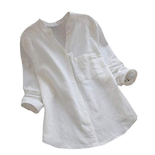 Luckycat Mujer Algodón Lino Camisa Manga Larga sólida