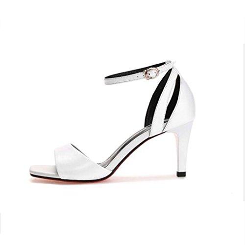 W&LM Signorina Tacchi alti sandali vera pelle sandali Tacchi alti Testa quadrata Bocca poco profonda scarpe di pelle White