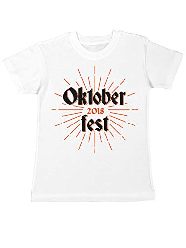 clothinx Kinder T-Shirt Oktoberfest 2018 Retro Sun Weiß -