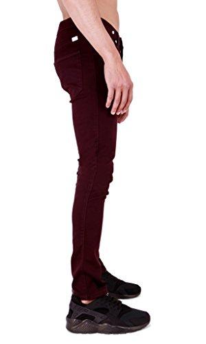Super Skinny pour homme en sergé Chino élastique Jeans Bordeaux
