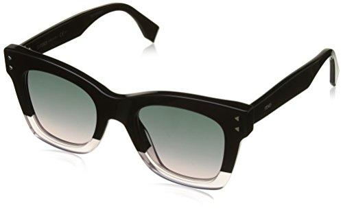 Fendi ff 0237/s jp 3h2, occhiali da sole donna, nero (black pink/green pink), 49