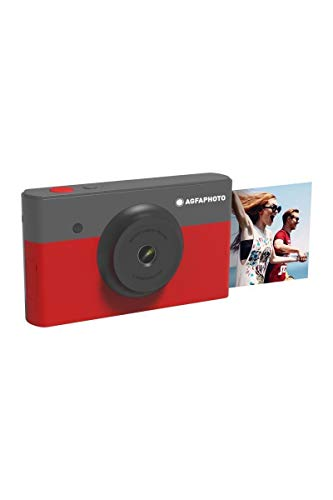 AGFA Photo - Realipix Mini S - Appareil Photo Numérique Instantané avec Impression par Sublimation Thermique - 10Mp - Bluetooth - 5, 3 x 8, 6 cm - Rouge