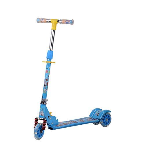 Thole Monopattino Auto con Ammortizzatore Flash Pu Scooter Adatto per 4-8 Anni,Blue
