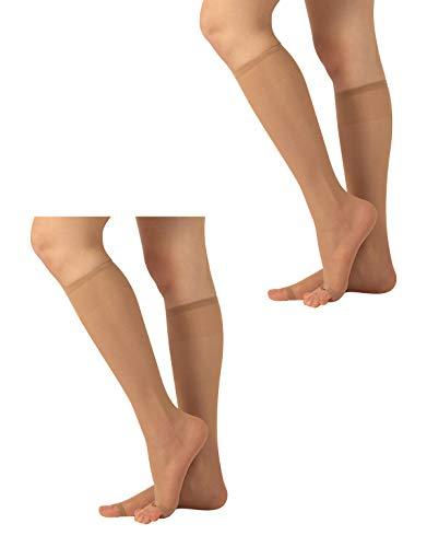 CALZITALY 2 Paar Zehenfreie Kniestrümpfe | Feine Damen Kniestrümpfe für Peep Toe | Open Toe Strümpfe | 10 DEN | Hautfarbe, Schwarz | Einheitsgröße | Made in Italy (Einheitsgröße, Hautfarben)