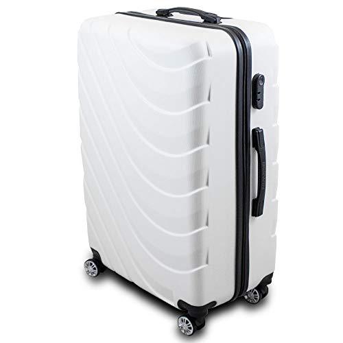 Trolley Hartschalen Koffer Hartschalenkoffer Hardcase Größe XL Modell Wave 2018 (Weiß)