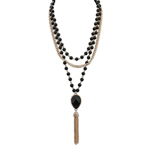 Aooaz Collane donna Boemia Collane statement Vintage amore Lungo Collane girocollo Multi Strand Perline catena nero