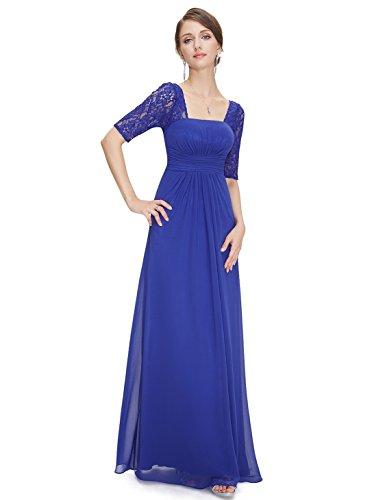 Ever Pretty Robe de Soiree en Demi-manches Dentelle 08038 Bleu Saphir