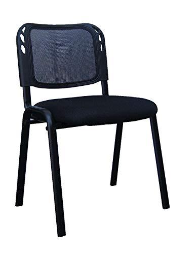 Avanti Trendstore - Como - Stuhl ohne Armlehnen, in schwarzer Farbe, Meshbezug. Ideal für einen Büro oder Wartesaal. Maße BHT 57x79,5x53 cm (Como Stuhl)