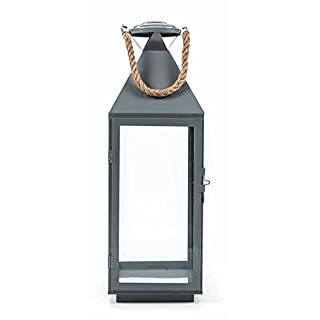 ArtiCasa Metalllaterne, Glaseinsätze, Metallboden, Tür mit Verschluss, Seil-Griff, Design maritim, Größeca. 55/41/24 cm, lieferbar in den Farben Schwarz, Weiß oder Grau (Höhe 55 cm, Grau)
