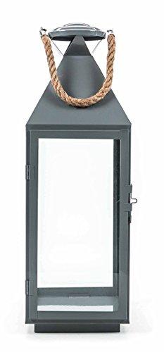 ne, Glaseinsätze, Metallboden, Tür mit Verschluss, Seil-Griff, Design maritim, Größeca. 55/41/24 cm, lieferbar in den Farben Schwarz, Weiß oder Grau (Höhe 55 cm, Grau) ()