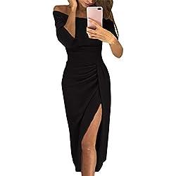 ORANDESIGNE Femme Maxi Robe de Soirée Cocktail Élégante Longue Bustier 3/4 Manches Dress Sexy Slim Fit Robe pour Mariage Cérémonie Bal Party Noir FR 44