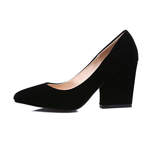 Sapatos Bombas Elevado Apontado Puro se Mover O Senhoras Voguezone009 Preto Nubuck Para Dedo Salto qgCanURwx