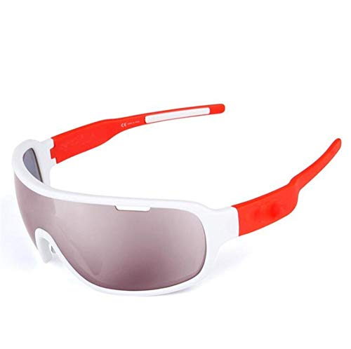 Pkfinrd Extremsport-Sonnenbrille mit UV400-Schutz und unzerstörbarem Gestell für Herren Outdoor-Sportarten Angeln Skifahren Golf Laufen Radfahren Camping@Weiß orange