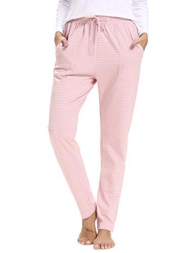 Aibrou Damen Schlafanzughose Baumwolle Pyjamahose Lang Gestreifte Hose Pants mit Seitentasche Rosa S