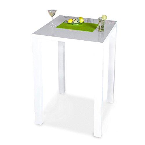 levandeo Bar-Tisch Tresen Weiß Hochglanz Stehtisch Bartresen