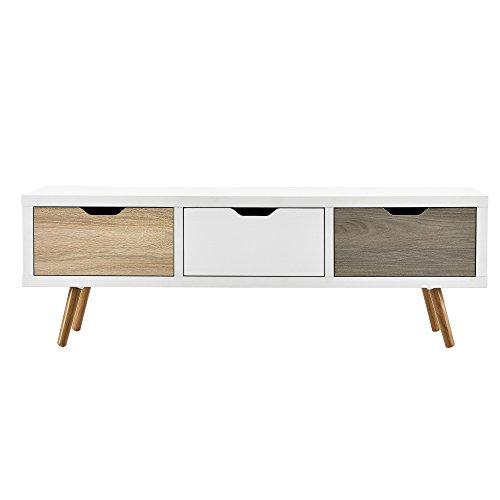 315aOU6OnzL - [en.casa]®] Mesa de TV-/ Lowboard/Mueble de televisión con 3 cajones (120x39x39cm) - Blanco