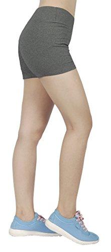 iLoveSIA® Femme short sans couture shorty fille élastique confortable multiusage Gris