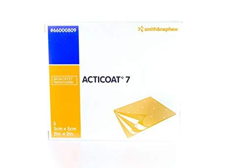 Acticoat 7 Medicazione antimicrobica rivestita in argento, 5 cm x 5 cm (5s) - ustioni, ulcere, funziona su ferite fino a 7 giorni.