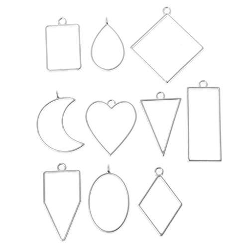 LLLucky 10 Stück Verschiedene Geometrische Hohl Gedrückt Blume Leere Rahmen Form Anhänger Harz Handwerk Schmuck Machen Splitter