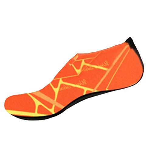 Xmiral Wasserschuhe Damen Gummisohle Drucken Laufschuhe Trocknend Badesandale Schwimmschuhe Wasserdicht Barfuß Schuhe für Pool Surfen Yoga rutschfest Badelatschen(Orange,36-37 EU)