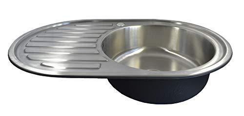 1x Spülbecken Einbauspüle Edelstahl 304 oval 1 Becken mit Ablage und Ablaufgarnitur Spüle 76,5x50
