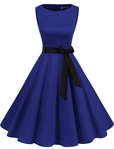 er Vintage Cocktailkleid Rockabilly Retro Schwingen Kleid Faltenrock Royal Blue M ()