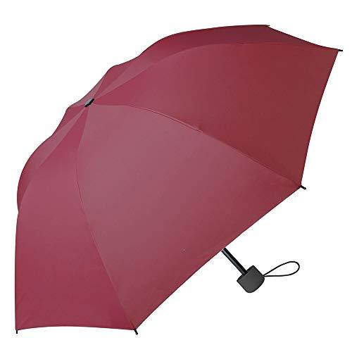 Outdoor-Regenschirm, Sonnenschirm - Tri-Falten Kleine frische Regenschirm - Sonnenschirm - Farbe: Schwarz/Grau/Lila/Blau/Rosa/Rot/Grün,Rot