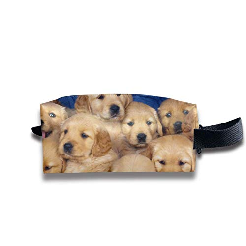 Cute Golden Retriever Puppy Women Cosmetic Bag Travel Girls Oxford Toiletry Bags Lovely Portable Hanging Organizer Makeup Pouch Pencil Case -