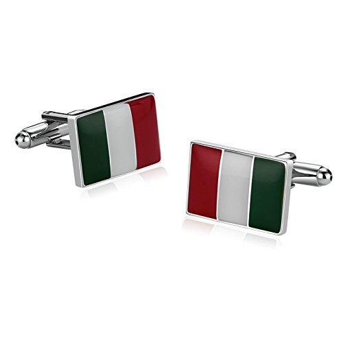 Epinki Mode Luxus Französisch Tuxedo Shirt Hemd Manschettenknöpfe Für Herren Edelstahl Italienische Flagge Italy Grün Weiß Rot (Italienischen Tuxedo)