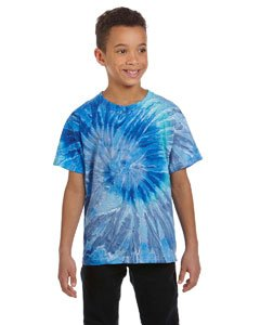 Youth 5.4 oz., 100% Cotton Tie-Dyed T-Shirt BLUE JERRY L (Cotton Dyed T-shirt Youth)