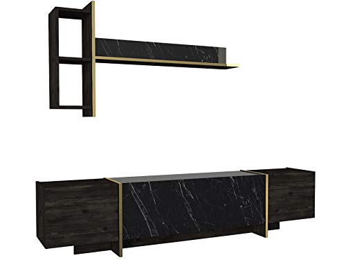 Alphamoebel 4852 Veyron Wohnwand modern Anbauwand TV Lowboard Mediawand, Braun Dunkelgrau, Holz, Marmor Optik, Hängeregal, 4 Türen, viel Stauraum, glänzend, 180 x 45 x 32 cm