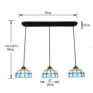Histone 8 Zoll 3 leichten Vintage Tiffany-Glas Schattierungen Wohnzimmer Esszimmer Kronleuchter Lampe , 220-240v (Tiffany Schattierungen)