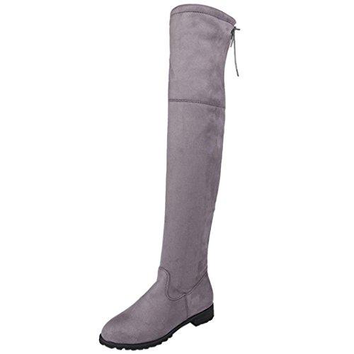 Sunday Lange Damen Indoor & Outdoor Mode Frühling Herbst Winter Freizeit Damen Schnalle Slim High Overknee Trim Flache Stiefel Schuhe (Grau, 37 EU)