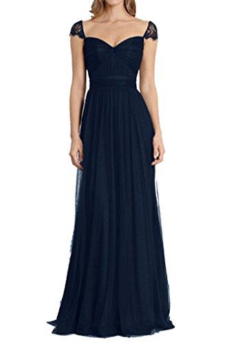 Promgirl House Damen 2016 Glamour Spitze Traeger A-Linie Abendkleider Cocktail Ballkleider Lang Navyblau