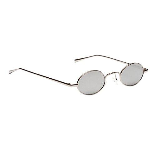 MagiDeal Damen Herren Sonnenbrille Oval Kleine Sonnenbrillen polarisierten Brille Kunststoff UV-Schutz Gläser Linse für Party Freizeit - Weißsilber