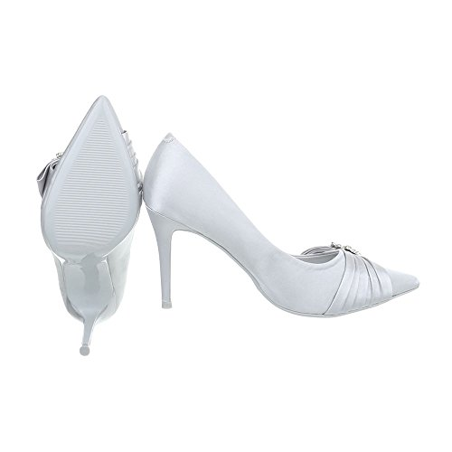 Ital-Design Scarpe da Donna Scarpe Col Tacco Tacco a Spillo Scarpe con Tacco Alto Argento