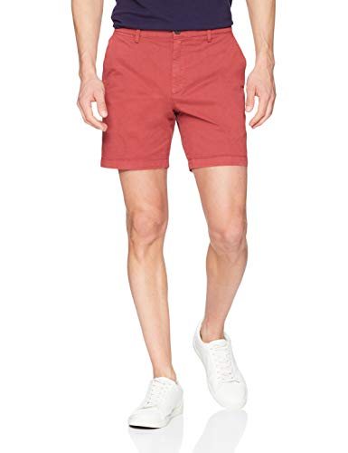 Goodthreads Herren Flat-Front dehnbare Chino-Shorts, Rot (Washed Red Was), W34 (Männer Shorts Chinos Rote)