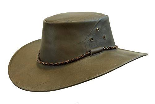 (Känguru- Lederhut in braun, echter Traveller Hut hergestellt in Australien von Kakadu Traders)