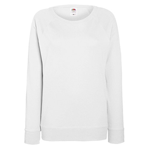Fruit OF The Appear Damen Raglan Sweatshirt L,Weiß